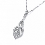 "J-Jaz Micro Pave' Cz Teardrop Pendant with 18"" Chain"